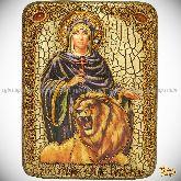 Святая мученица Дария Римская, подарочная икона, 15х20 на мореном дубе