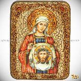 Святая Праведная Вероника Кровоточивая, подарочная икона, 15х20 на мореном дубе