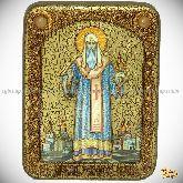 Святитель Алексий, митрополит Московский и всея России чудотворец, подарочная икона, 15х20 на мореном дубе