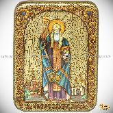 Святитель и чудотворец Ермоген, патриарх Московский и всея Руси, подарочная икона, 15х20 на мореном дубе