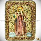 Святитель Филипп, митрополит Московский, подарочная икона, 15х20 на мореном дубе