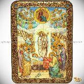 Успение Пресвятой Богородицы, аналойная икона, 21х29 на мореном дубе