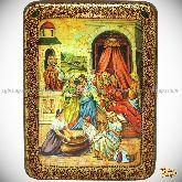 Рождество Пресвятой Богородицы, аналойная икона, 21х29 на мореном дубе