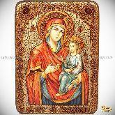 "Божией матери ""Скоропослушница"", аналойная икона, 21х29 на мореном дубе"