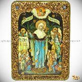 Божией Матери «Всех Скорбящих Радость с грошиками», аналойная икона, 21х29 на мореном дубе