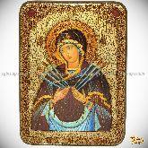 """Образ Божией Матери """"Семистрельная"""" , аналойная икона, 21х29 на мореном дубе"""
