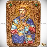 Святой мученик Анатолий Никомидийский, аналойная икона, 21х29 на мореном дубе