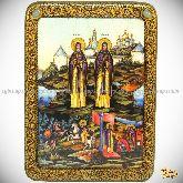 Святые преподобные Александр (Пересвет) и Андрей (Ослябя) Радонежские, аналойная икона, 21х29 на мореном дубе