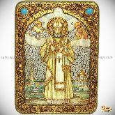 Святитель Тихон Задонский, патриарх Московский и всея Руси, аналойная икона, 21х29 на мореном дубе