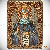 Преподобный Антоний Великий, аналойная икона, 21х29 на мореном дубе