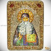 Преподобный Максим Грек, аналойная икона, 21х29 на мореном дубе
