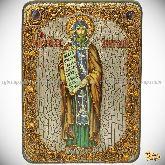 Святой равноапостольный Кирилл Философ, аналойная икона, 21х29 на мореном дубе