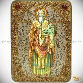Святой равноапостольный Мефодий Моравский, аналойная икона, 21х29 на мореном дубе