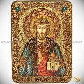 Святой князь Владислав Сербский, аналойная икона, 21х29 на мореном дубе