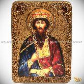 Святой Благоверный князь Вячеслав Чешский, аналойная икона, 21х29 на мореном дубе
