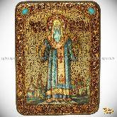 Святитель Алексий, митрополит Московский и всея России чудотворец, аналойная икона, 21х29 на мореном дубе