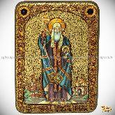 Святитель и чудотворец Ермоген, патриарх Московский и всея Руси, аналойная икона, 21х29 на мореном дубе