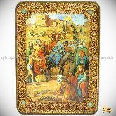 Вход Господень В Иерусалим, аналойная икона, 21х29 на мореном дубе