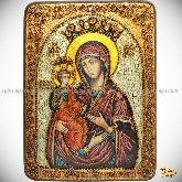 "Образ Божией Матери ""Троеручица"" , аналойная икона, 21х29 на мореном дубе"