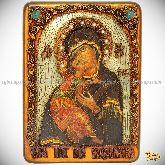 Образ Владимирской Божьей Матери, аналойная икона, 21х29 на мореном дубе
