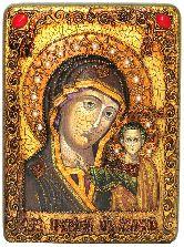 Образ Казанской Божией Матери, аналойная икона, 21х29 на мореном дубе