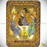 Троица, аналойная икона, 21х29 на мореном дубе