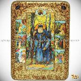 Преподобный Серафим Саровский чудотворец, аналойная икона, 21х29 на мореном дубе