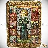 Блаженная старица Матрона Московская, аналойная икона, 21х29 на мореном дубе