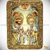 Петр и Февронья, аналойная икона, 21х29 на мореном дубе