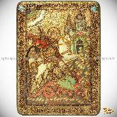 Чудо святого Георгия о змие, аналойная икона, 21х29 на мореном дубе
