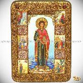 Святой Великомученик и Целитель Пантелеймон, аналойная икона, 21х29 на мореном дубе