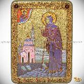 Святая Блаженная Ксения Петербургская, аналойная икона, 21х29 на мореном дубе