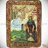 Святая преподобная Ирина Каппадокийская (Хрисоволанта), аналойная икона, 21х29 на мореном дубе