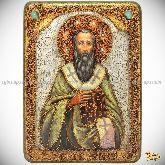 Святитель Василий Великий, аналойная икона, 21х29 на мореном дубе