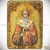Святитель Григорий Богослов, аналойная икона, 21х29 на мореном дубе