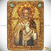 Святитель Иоанн Златоуст, аналойная икона, 21х29 на мореном дубе