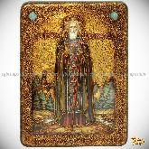 Преподобный Сергий Радонежский чудотворец, аналойная икона, 21х29 на мореном дубе