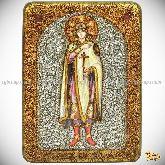 Святой благоверный князь Глеб, аналойная икона, 21х29 на мореном дубе