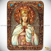 Святая благоверная княгиня Елена Сербская, аналойная икона, 21х29 на мореном дубе