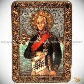 Святой праведный воин Феодор Адмирал (Ушаков), аналойная икона, 21х29 на мореном дубе