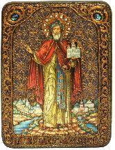 Cвятой благоверный князь Даниил Московский, аналойная икона, 21х29 на мореном дубе