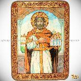Святой Благоверный князь Ярослав Мудрый, аналойная икона, 21х29 на мореном дубе