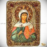 Святая мученица Алла Готфская, аналойная икона, 21х29 на мореном дубе