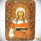 Святая мученица Валентина Кесарийская, аналойная икона, 21х29 на мореном дубе