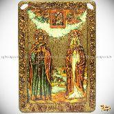 Петр и Февронья, большая подарочная икона, 42х29 на мореном дубе