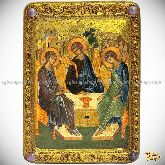 Троица, живописная икона, 21х29 на сакральном кипарисе