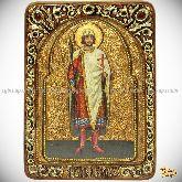 Святой благоверный князь Борис, живописная икона, 21х29 на кипарисе