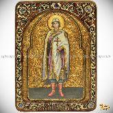 Святой благоверный князь Глеб, живописная икона, 21х29 на кипарисе