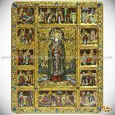 Преподобный Сергий Радонежский чудотворец с житийными сценами, живописная икона, 44х54 на кипарисе