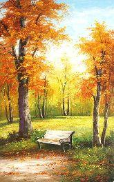"""Картина на холсте """"Скамейка в осеннем парке"""""""